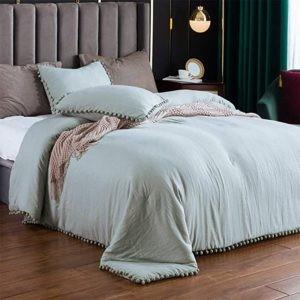 SexyTown-Green Pompom Fringe Comforter Set Best Bedding Set